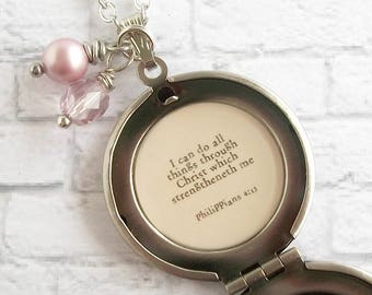 I Can Do All Things Through Christ Bible Verse Quote Locket Necklace Christian Jewelry Purple Chrysanthemum Floral Pendant Philippians 4:13
