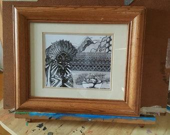 """Original Ink Drawing """"om te weet-Afrika"""" by FRall"""