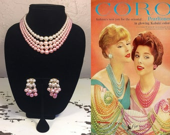 Mai Tai Tantrums - Vintage 1950s Soft Pink Ombre 4 Strand Necklace & Dangle Earring Set