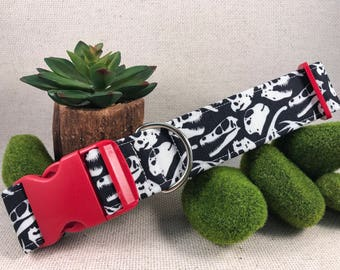 Dino Skulls Monochromatic Paleontology Black and White Dog Collars