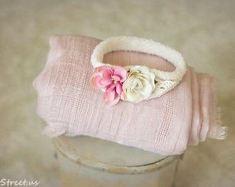 Pink Wrap and Newborn Headband Set, Baby Gauze Wrap, Cream and Dusty Rose Headband, RTS, Vintage Prop, newborn Props, RTS Cotton Baby Props