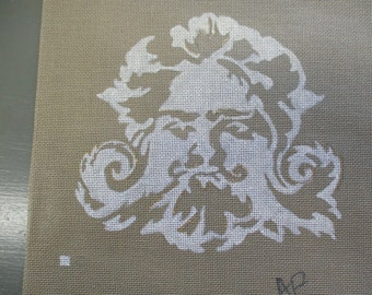Needlepoint canvas handpainted signed AP two color design, man's face, boho decor, 13 by 16 inches  no yarn included no instruction