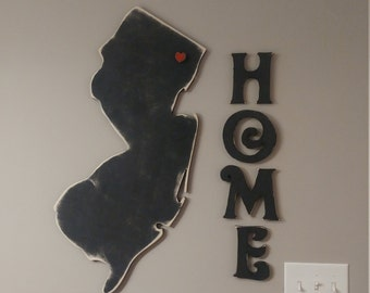 Custom Hand Painted State Sign - Home State Sign - Wood State Wall Art - Custom State Wood Sign with Home Letters
