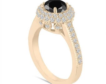ON SALE 18K Yellow Gold Fancy Black Diamond Engagement Ring Double Halo Pave 1.66 Carat Certified Unique