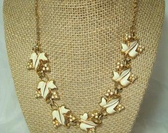 CORO Vintage Gold Tone Grape Leaf Necklace.