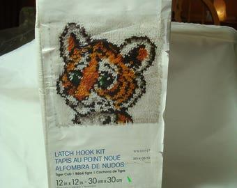 Vintage WONDERART Tiger Cub Latch Hook Kit For Pillow orWallhanging .