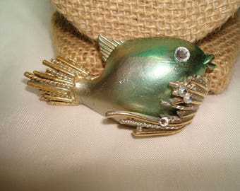 Large Vintage BSK BrandGreen and Gold with Jeweled Accents Fish Pin.