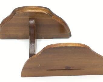 Vintage Wood Shelves, Display Shelf, Set of Two