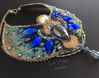 Blue Crystal Scarab Necklace - Dreamy Egyptian Princess Necklace, Egyptian Jewelry, Crystal and Pearl Collar Necklace, Bead Embroidered
