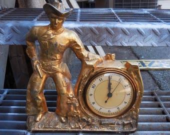 Vintage cowboy clock Brass Western Horseshoe round frame clock housing Supplies