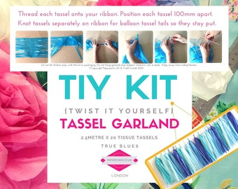 DIY Tassel Garland Kit, DIY Tassel Kit, tassel garlands, parties, shop display, photo shoot, True Blue