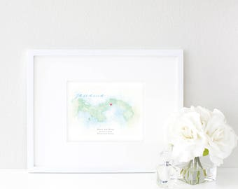 Panama Watercolor Map | Destination Map Print | Personalized Watercolor Map | Honeymoon Map | Anniversary Map | Watercolor Wedding Map