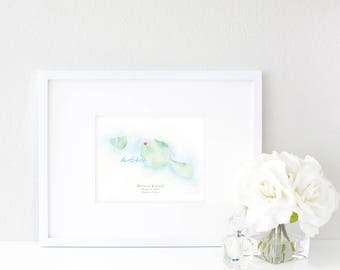 Tahiti Watercolor Map | Destination Map Print | Personalized Watercolor Map | Honeymoon Map | Anniversary Map | Watercolor Wedding Map