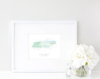 Tennessee Watercolor Map | Destination Map Print | Personalized Watercolor Map | Honeymoon Map | Anniversary Map | Watercolor Wedding Map