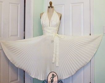 Marilyn's Subway Dress- Off White Ivory- 7 Seven Year Itch White Pleated Circle Skirt Halter Dress 1950s 50s Pinup Custom Made to Order