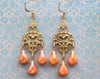 Chandelier Earrings - Vintage Dangle Earrings - Spring Jewelry - Flower Earrings - Orange Earrings - Orange Jewelry - Rhinestone Earrings