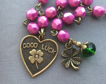 Lucky Bracelet - Lucky Charm Bracelet - Shamrock Bracelet - Good Luck - Four Leaf Clover - St Patricks Day - Clover Bracelet - Lucky Jewelry