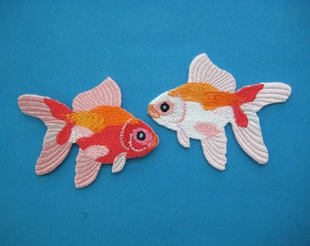 2 pcs Iron-on embroidered Patch Pair of Fansy Goldfish 2.5 inch