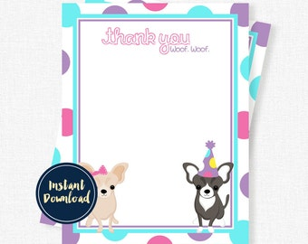 Dog Thank You Cards, Chihuahua Thank You, Puppy Party Thank You Card, Girl Birthday Thank You Printable INSTANT DOWNLOAD