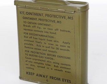 Vintage Army Green Metal container for protective ointment for blister gas