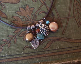Leather Cord Charm Necklace
