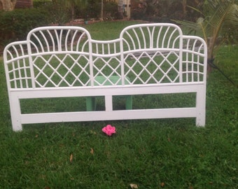 Vintage FICKS REED King Headboard / King Bamboo Headboard / Palm Beach Chic Cottage Style / ON Sale at Retro Daisy Girl