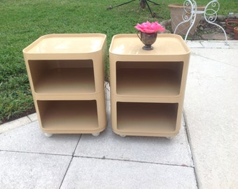 MID CENTURY CUBES / Castelli Nightstands / Cool Space Age Stackable Containers Side Tables / Removable Lids/ Castelli at Retro Daisy Girl