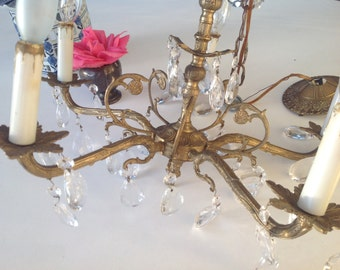 SHABBY CHIC CRYSTAL CHANDELIEr / Vintage Shabby Chic Crystal Chandelier / Paris Apt Cottage Style at Retro Daisy Girl