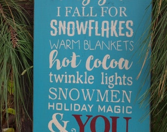 SALE! I Fall For Snowflakes, Christmas, Winter, Wood Wall Sign, Subway Art,Typography,