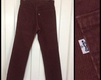 Vintage 519 Levis Corduroys 31x30 Burgundy red jeans  pants 31 inch waist Talon zipper cords #1593