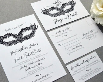 Masquerade Wedding Invitations, Mask Wedding Invite Set, Black and White Wedding Invitation Suite, Halloween Wedding Pocket Invites Modern