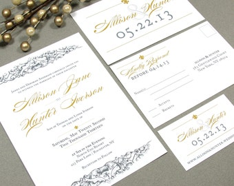 French Baroque Fleur de Lis Wedding Invitation Set by RunkPock Designs | Modern Script Calligraphy Invitation shown in Gray and Gold
