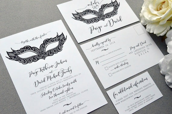 Masquerade Wedding Invitations: Masquerade Wedding Invitations Mask Wedding Invite Set Black