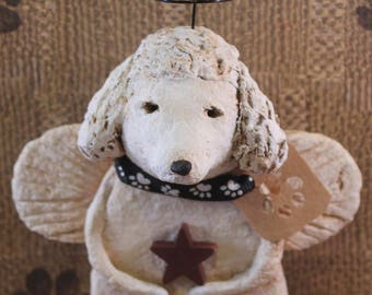 White Poodle Angel, OOAK, hand-sculpted from papier mache, POODLE ANGEL