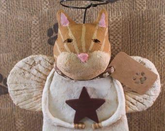 Primitive  Orange Tiger  Cat Angel, hand-sculpted from papier mache, OOAK, Orange Tiger Cat Angel,