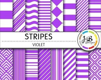 Stripes Digital Paper, Violet, Purple, White, Stripes, Nautical, Digital Paper, Digital Download, Scrapbook Paper, Digital Paper Pack