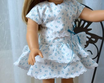 18 Inch Doll Clothes Blue and White Floral Print Dress with A Double Skirt and White Cotton Knit Panties by SEWSWEETDAISY