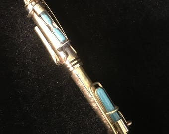 Steampunk All Brass with hour (sec)) glass and vial fountain pen with 24 k gold nib