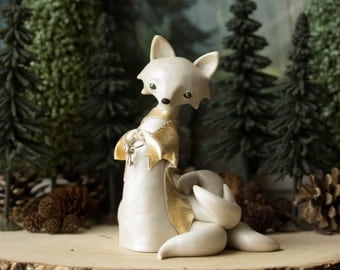 Kitsune Fox Guardian - White Kitsune - Nine-tailed Kitsune Fox by Bonjour Poupette