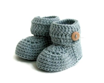 Short Button Cuff Baby Booties in Aqua Merino Wool