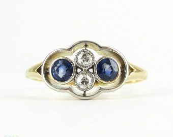 Sapphire & Diamond Dress Ring, Antique Four Stone Engagement Ring with Blue Sapphire and Old European Cut Diamonds. 18ct, Circa 1910s.