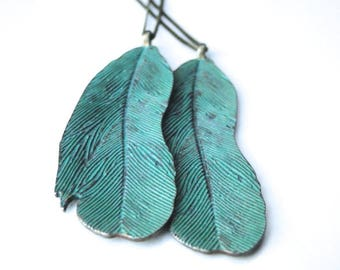 Necklace / Jewelry /Green Verdigris Patina Feather Pendant Necklace / Accessories / Gift for Her / Mother's Day Gift / Feather Jewelry