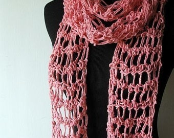 Summer Breeze Lightweight Cotton Scarf in Coral Pink