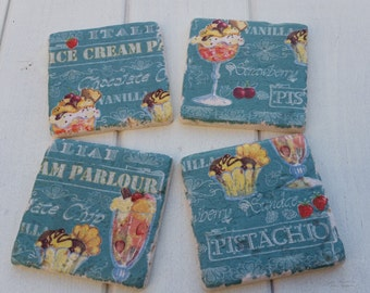 Ice Cream Parlour Teal Stone Coaster Set of 4 Tea Coffee Beer Coasters