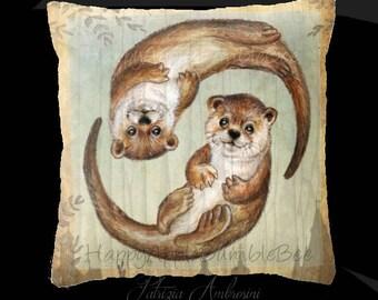 Pillow cover...PRINT art.  . Otters over Praha  - animal art - woodland art - fine art -living room - childrens room - nursery - babies -owl