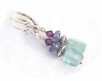Green Fluorite earrings / Rainbow Fluorite earrings / Green Fluorite dangles / Fluorite Crystal earrings /Green beaded earrings