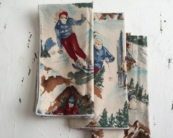 Vintage Ski Cloth Napkins, Set of 3