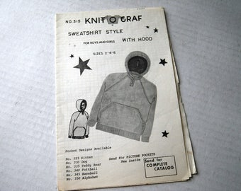 Hoodie Pullover Knit O Graf Child Sweater Knitting Pattern with Scottie Dog Pocket