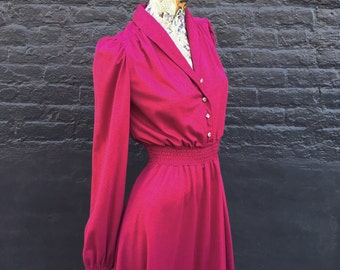 RESERVED for JIAHUI  Vintage 70s Burgandy Wine Jersey Dress  small