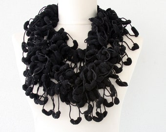 Black pompom scarf crochet scarf mulberry scarf pom pom scarf cocoon scarf fashion scarves for women christmas gift for her fall fashion